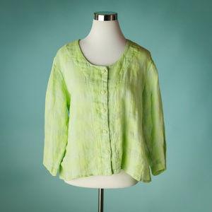 Flax M Linen Button Down Front Shirt Jacket